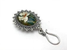 Handmade Portuguese Knitting Pin- Magnetic ID Badge Holder- Hibicus Flower