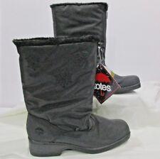 "Black Totes 12"" Boots Size 11 M Zip 2""Heel Mid Calf Waterproof Thermal Faux Fur"