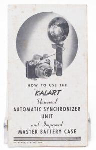 Kalart Instruction Manual How to Use Universal Automatic Synchronizer Flash Unit
