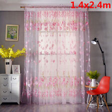 1PCS Window Curtain Floral Tulle Voile Door Panel Sheer Room Divider Valance