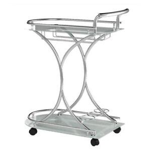 Coaster Home Furnishings 2 Glass Shelves Portable Serving Cart, Chrome and White