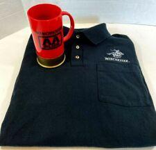 Winchester Collar Shirt Black XL Embroidered Logo And Shotgun Shell Mug.