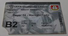 old ticket CL Bayer Leverkusen Maccabi Haifa 2002 Germany Israel