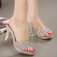 Ladies Womens Fashion High Heel Rhinestone Sandal Slipper Party Dress Shoes Size