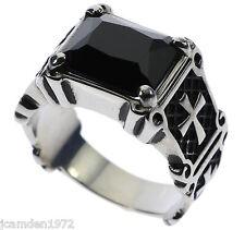 Templar Cross 6 carat Black Onyx Stainless Steel Men's Ring Size 10