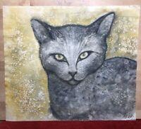 Isis LULLY peintre XXème ( 1936- ), Belle Aquarelle chat, signée, artiste coté