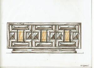 Original Mid Century Furniture Design Sketch Dresser Pulaski 1970s Leonard Eisen