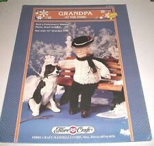 FIBRE CRAFT 1993 GRANDPA AT THE PARK 14 INCH DOLL KNIT PATTERN OOP 363