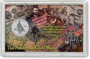Civil War Commemorative Half Dollar Display With Coin