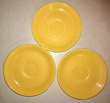 LOT OF 3 Vintage Fiestaware Original Yellow Saucers Plate Homer Laughlin HLC U7