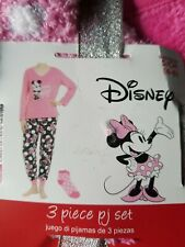 NWT SZ Women's Small Disney's 3 Piece Plush Fleece Disney Minnie Mouse PJ Set