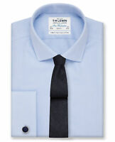 T.M.Lewin Men's Suit Shirt - Twill Weave Slim Fit Double Cuff Easy Iron - Blue