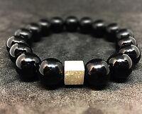 Onyx glänzend 925er sterling Silber Armband Bracelet Perlenarmband schwarz 12 mm