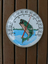"""Vintage 12"""" Outdoor Ohio Thermometer With Jumping Fish Unique Decor"""