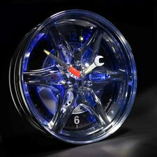 Blue Neon Car Tyre Wheel Rim Wall Clock Tyre Motor Car Enthusiast Gadget Gift