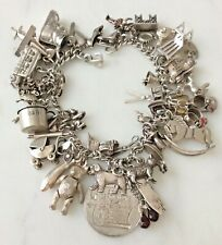 50 Vintage Sterling Silver Charms Bracelet Mother BABY