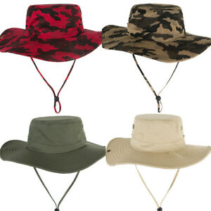 Men Summer Camouflage Wide Brim Sun Protection Hat Outdoor Fishing Fisherman Cap