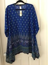 Tommy Bahama Blue Kaftan Top/Swimmer Coverup Size S/P