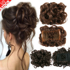 New Women Comb Clip In Curly Hair Piece Chignon Hair Extension Hair Bun Updo HOT