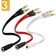 Headphone Splitter, 3-Pack Certified Stereo Audio Jack Splitter Cable for Com...