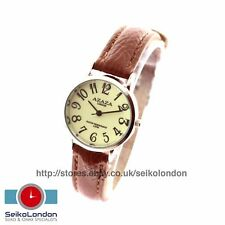 Azaza Ladies Luminous Glow In The Dark Dial , Silver Finish, Brown Strap
