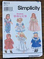 "Simplicity 8211 Doll Wardrobe Pattern Sz 18"" UNCUT Dress Nightgown Pantaloons"