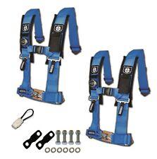"Pro Armor 4 Point Harness 2"" Seat Belt Pair Mount Kit Bypass Blue YXZ 1000 2017+"