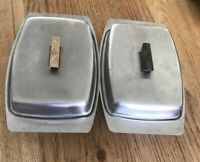 VINTAGE STAINLESS STEEL RETRO BUTTER DISHES X 2
