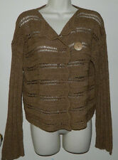 Women Colour Works Brown Cardigan Sweaters Long Sleeve Casual Work Size M