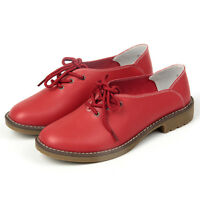 Women's Casual Shoes Leather Lace Up Brogue Flat Low Heel Oxford Loafers PX-2822