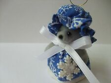 Blue Noel Christmas Mouse Ornament Handmade Rat Mice Rodent 2 3/4 inches Tall