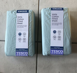 2 X 100% Cotton Fitted Sheets Kingsize  - Duck Egg - 152x200x25cm 180 Thread.