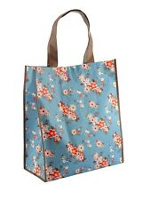 Floral / Flower Shopper Reusable Eco Foldable Shopping Tote Bag For Life - BLUE
