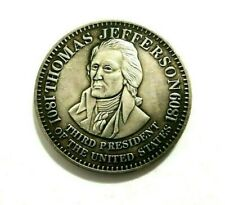 MEDAL THOMAS JEFFERSON / THIRD PRESIDENT OF THE US / SILVERED EXONUMIA TOKEN