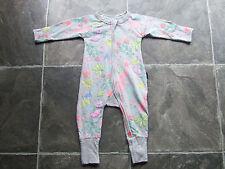 BNWT Baby Girl's Bonds Grey Floral Zip Wondersuit/Coverall/Sleeper Size 00