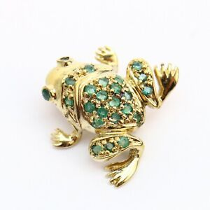 Genuine Emerald Frog Gold over Sterling Silver Pin 4.5g