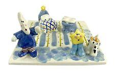 "Robin Russell Art Pottery Tile Moon & Stars Lighted House 5"" Nursery 2003 C10"