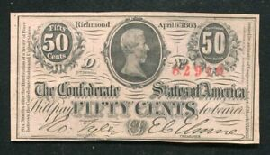T-63 1863 50 FIFTY CENTS CSA CONFEDERATE STATES OF AMERICA UNCIRCULATED