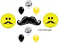 MUSTACHE Smile Face Balloons Decorations Little Man Birthday Baby Shower Chevron