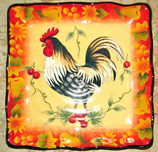 """HARVEST ROOSTER Square Plate (s) Serving Tapas THANKSGIVING 9""""  Fall COLOR! NEW!"""