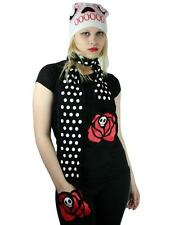 TOO FAST Sugar Skull Scarf Hat w/ Rose Hand Warmers DAY OF THE DEAD Beanie Set