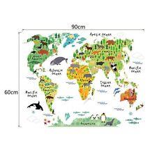 Animals Safari World Map Kids Decor Removable Wall Sticker School Art Child AG