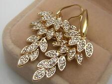 14ct 9ct Yellow Gold GF Lab diamond Leaves Drop Dangle Earrings X'mas Gift