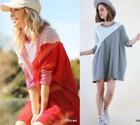 OVERSIZE SML XL Plus 1XL UMGEE GREY-RED Striped Colorblock Knit Dress/Tunic BHCS