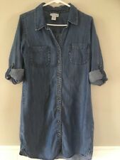 Soft Surroundings P Small Tencel Lyocell Blue Tunic Top Roll Sleeve Button Up