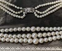 Akoya Cultured Pearl Necklace, 3 Rows set with 9ct white gold and diamond clasp