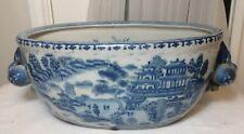 Large Antique Chinese Blue & White Oval Porcelain Pot W/ Peach & Flower Handles