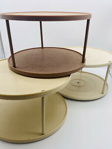 """Lot of 3 Vintage 2Tier Rubbermaid Lazy Susans Swivel Turntables Almond Brown 10"""""""