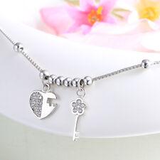 Fußkettchen Liebesschloss & Schlüssel echt Sterling Silber 925 Zirkonia Fußkette