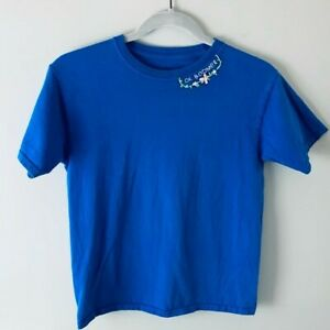 OK BOOMER Blue Hand Embroidered T-Shirt Youth Large Handmade